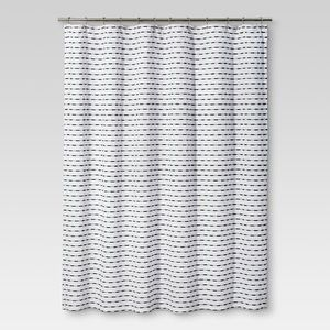 Textured Stripe Fabric Shower Curtain